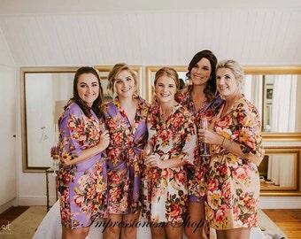 Set of 8 , Bridesmaids robes, Bridesmaid Robes Cheap, Kimono Crossover Robes, Bridesmaids gift getting ready robe Bridal shower party favors