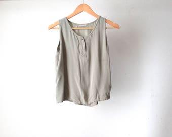 women's 90s tan henley TANK top slouchy oversize shirt