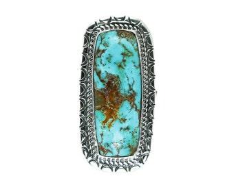 Long Kingman Turquoise Ring