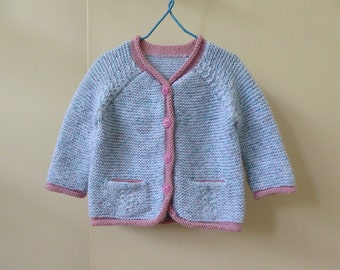 Baby's handknit cardigan, baby girl pink and blue sweater, hand knitted soft and squishy baby cardigan, fit 3 months