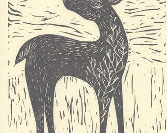 Forest deer- Lino Block Prints hand printed