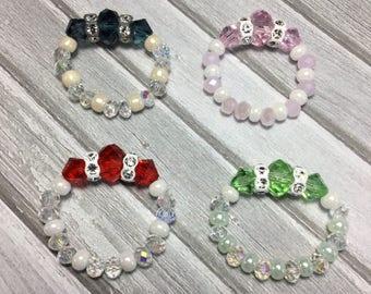 Free Shipping - Energy - Swarovski Crystal Stretch Rings/Green Crystal Stretch Rings/Red Crystal Stretch Rings/Pink Crystal Stretch Rings