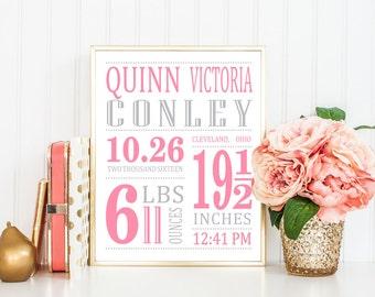Girl Birth Announcement - Nursery Printable - Nursery Art - Girl Birth Stat Print - Pink Gold Nursery - Baby Girl Gift - Girl Nursery Idea