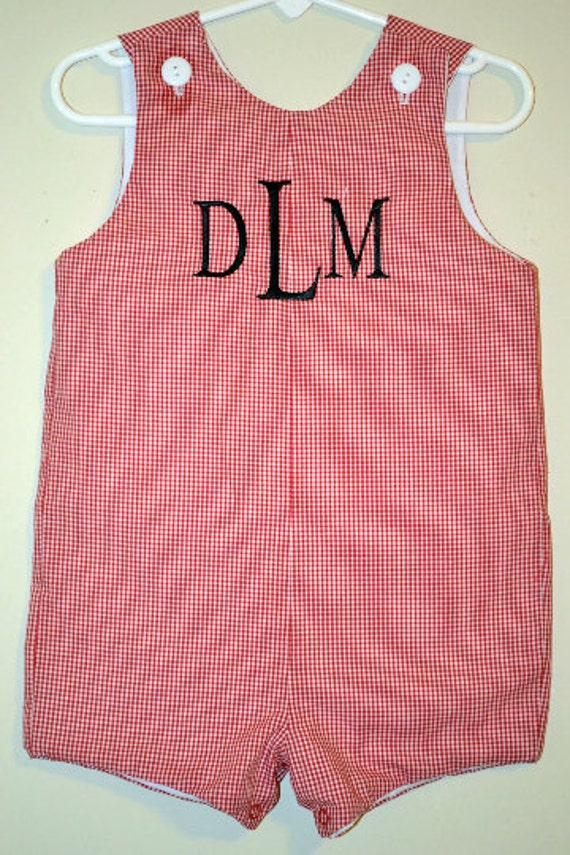 Custom made Personalized Monogrammed Red Gingham Jon Jon