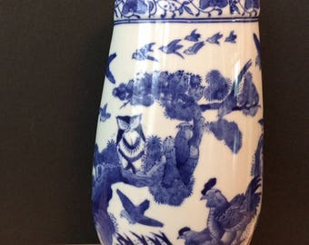 SALE! beautiful blue & white Chinese owl bird vase