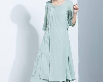 Mint Green Linen Dress,Layered Dress,Midi Calf Dress,Printed Dress,Three Quarter Sleeves Dress,Loose Dress,Summer Dress,Women's Dress C1132