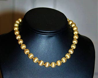 MONET Designer Couture High End Textured Gold Tone Bead Choker Necklace ND8