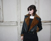 AMAZING 80s Vintage Leather Motorcycle Jacket with Faux Cheetah Print Fur Accents
