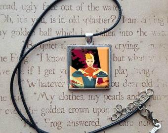 Captain Marvel Comic Necklace Pendant