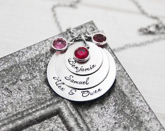 Mommy Necklace - Three Layered Hand Stamped Pendant - Birthstones and Kids' Names - Personalized Jewelry - Mother's Day Gift