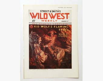 Pulp Art - Wild West Weekly - Western Horse and Rider - Wall Art for the Man Cave