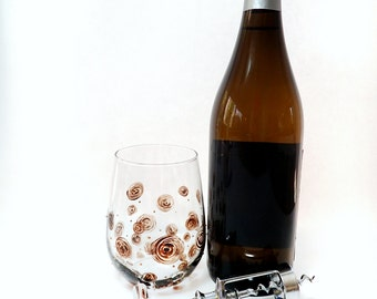 Hand Painted Stemless Wine Glass - Wooden Roses - Translucent Brown Swirls and Golden Dots Painted on a Clear Glass