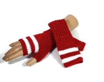 Red and White Gloves - Red Crochet Gloves -  Teens Gift Ideas - Stripy Fingerless Gloves -  Vegan Friendly - Festival Wear