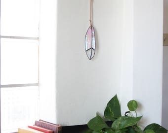 "IRIDESCENT - 6"" Stained Glass Feather - small - white iridescent and textured clear glass with leather for hanging"