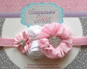 Baby Headband, Easter baby Headband, Baby Headband, Infant Headband, Newborn Headband, Baby Headband, Pink and White
