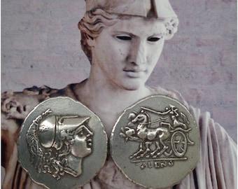 Athena, Goddess of Wisdom, with Chariot (biga) Coin, (# 84-S) 400-350 B.C., 24 mm, 4 g