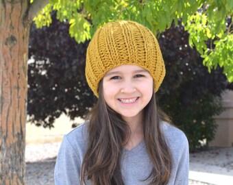 Kids Knit Slouchy Hat Beanie Toque // The Little Hamilton // in Honey