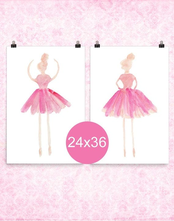 Ballet Prints in Pink, 24x36 Set of 2