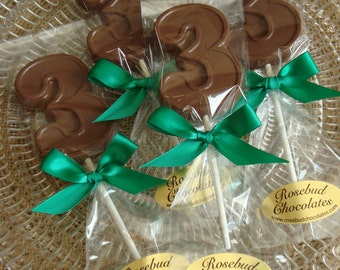 12 Chocolate Number 3 Lollipops Three Third  Birthday Party Favors