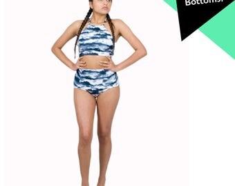 High Waist Swimsuit Grey Cloudy Sky Halter Top Retro Swimwear High Waist Panty