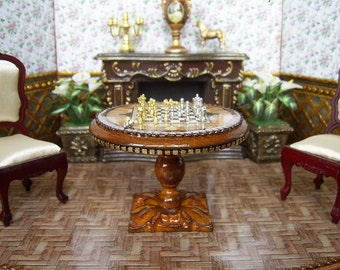 Marvelous Wooden Chess Table And Chess Figures In A Set. Handcrafted Miniature. For  Doll House
