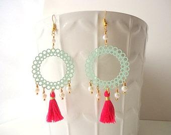 Mint Green earrings, Tassel earrings, Coral Pink earrings, Hoop earrings, boho earrings, beach earrings, gypsy earring, summer trend 2018