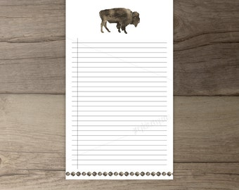 Bison Notepad • Printable To-Do list •Buffalo todo list notepad organizer • gift • Watercolor •leaves • printable
