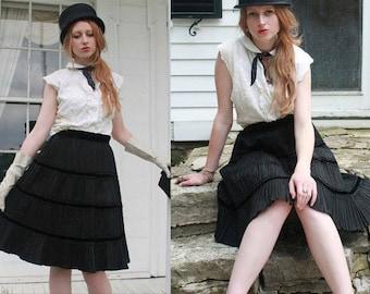 Vintage Black Taffeta Skirt ACCORDION Pleats High Waisted 50s Retro Rockabilly SWING Steampunk Goth Weddings Women's Medium Size ALINE Skirt