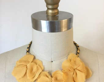 Golden Silk Flower Necklace
