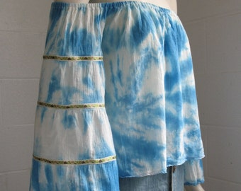 Off the Shoulder Peasant Crop Top with Tiered Sleeves in Cerulean Blue Embroidered Tape Crochet Edge Tie Dye-Size S/M