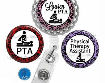 Personalized Physical Therapy Assistant (PTA1) Retractable ID Badge Reel with (3) Charm Magnets