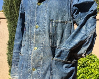 DENIM CHORE COAT, Vintage Blue Jean Troy Blanket Lined Barn Work Jacket