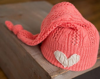 Newborn Girl Hat, Upcycled Newborn Knot Hat, Coral Baby Hat, Newborn Hats, Sleepy Time Hat with Heart, Newborn Photography Prop, Photo Props