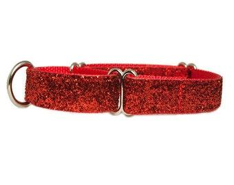 "Martingale Dog Collar 1"" or 1.5"" Red Glitter Dog Collar"