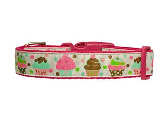"Birthday Dog Collar 1"" Pink Cotton Dog Collar"
