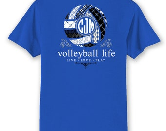Volleyball monogram etsy for Life is good volleyball t shirt