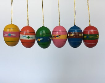 Set of 6. Vintage Hand Painted Easter Egg Ornaments. Vintage German. 2017_034