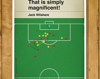 Football Print - Classic Book Cover Poster - Jack Wilshere team goal for Arsenal v Norwich (Various Sizes)