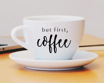 But First Coffee Vinyl Decal, Coffee Sticker, Coffee Decal, Mug Decal, Car Decal, Water Bottle Decal