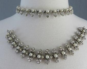 Vintage Costume Pearl and Diamanté Romantic Hearts Necklace & Bracelet Set/ Bride/ Mother of Bride/ Bridesmaids/ Gift for Her/Love/ Hearts