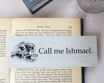 Moby Dick Bookmark - First and Last Line Bookmark set - Gift for Readers and Book Lovers- Book Mark  - Literature Quote - Bookish - Nautical