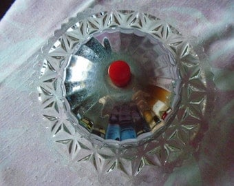 Vintage Mid Century Pressed Glass Butter Keeper with Chrome Cover with Red Bakelite Knob, Vintage Butter Storage, Retro Butter Storage
