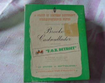 """Vintage Correspondence Notes by Brooke Cadwallader, 14 Notes & Envelopes, Entitled """"F.O.B. Detroit"""", Vintage Car Designs"""