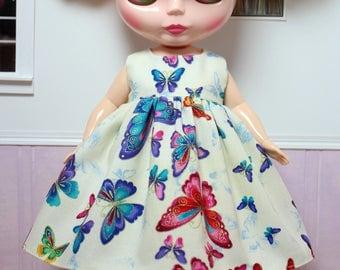 BLYTHE doll Plus-size Mimi party dress - rainbow butterflies