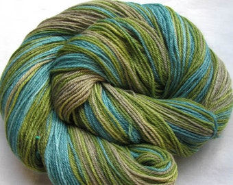 Sock Yarn Superwash Merino/Bamboo/Nylon 430 yards Greens