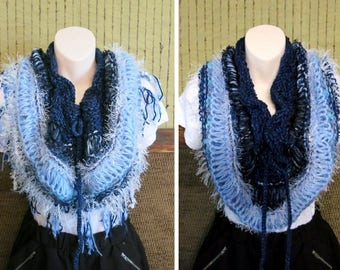 Women's Crochet Infinity Scarf Cowl, Blue Knit Crochet Chunky Scarf, Infinity Cowl, Wool Lace Neckwarmer, Wool Shawl, Nchanted Gifts
