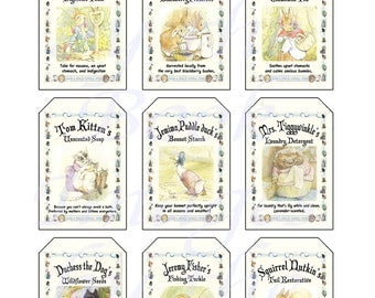 Fantasy Potion Labels -- Beatrix Potter's Ginger and Pickles General Store; GIFT TAGS (2 x 3 inches)