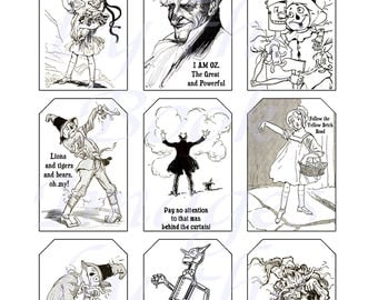 Wizard of Oz Quotes Printables by L. Frank Baum, GIFT TAGS (2 x 3 inches)
