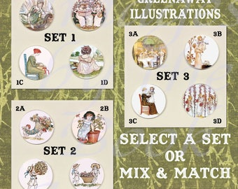 Button Magnets: Kate Greenaway's Language of Flowers, A Set of Four Magnetic Pendants and Chain (Select a Set or Mix and Match)