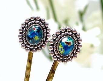 New - Teal Blue Bobby Pins Teal Hair Beads Blue Bobbies Beaded Bobbies Beaded Bobby Pin Blue Hair Pins Handmade